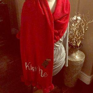 🎄New NY&C Red Embellished Christmas Scarf/Shawl🎄